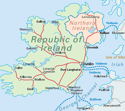 Country Of Ireland Map.Country Facts Map My Interrail